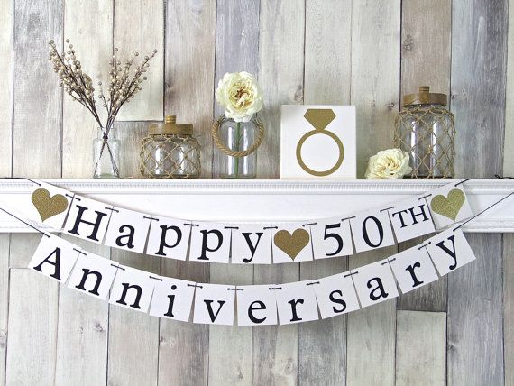 50th Anniversary Banner, Happy Anniversary Banner, Anniversary Party Decor, Gold