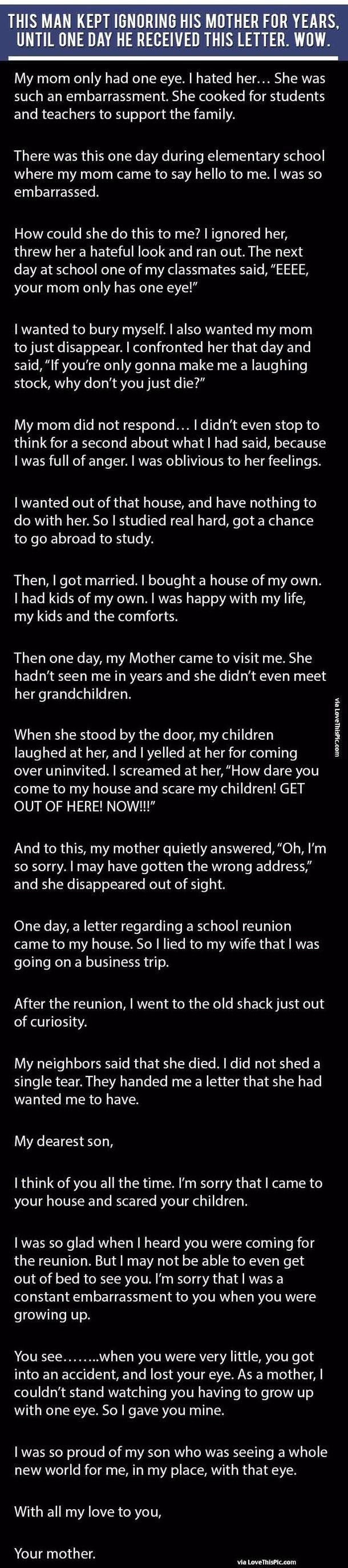 This Man Kept Ignoring His Mother For Years Until One Day He Received This Letter. Wow