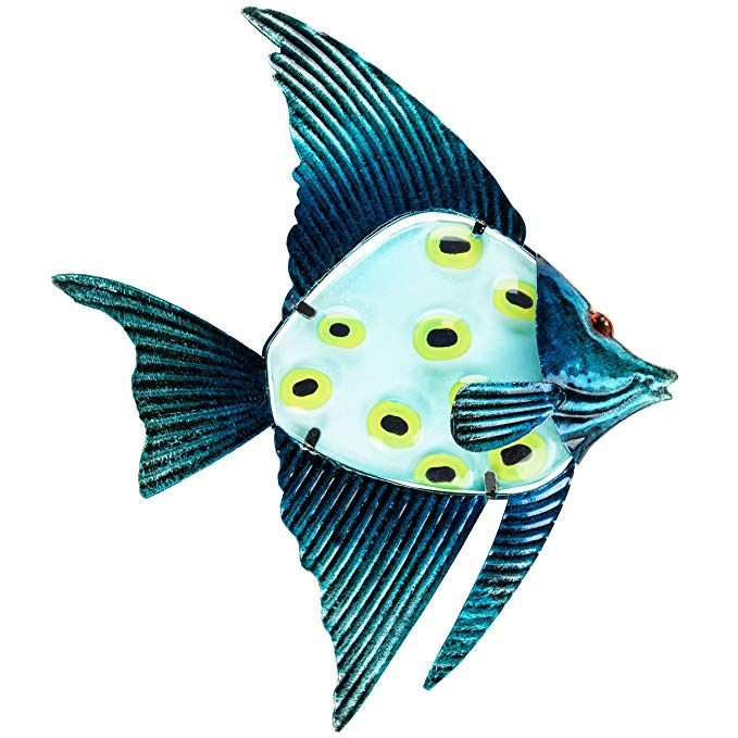 Amazon Com Patio Eden Metal And Glass Fish Wall Art 12 5 Perfect Patio Decoration Indoor Or Outdo Fish Wall Art Beach Wall Decor Metal Fish Wall Art
