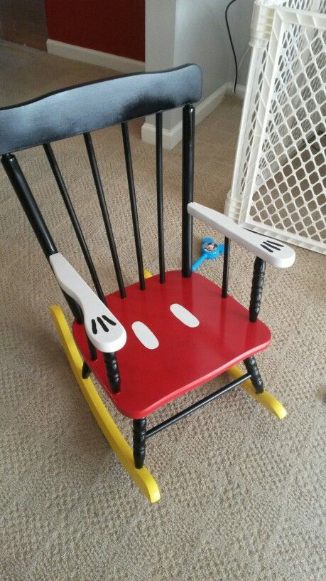 DIY Painted Mickey Mouse Rocking Chair