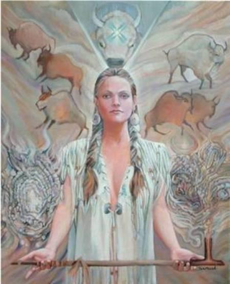 """Wohpe – White Buffalo Calf Woman Mujer Ternero de Búfalo Blanco  """"Los temas de Wohpe son los deseos, la paz, la belleza, el placer, los ciclos, el tiempo y la meditación. Sus símbolos son estrellas fugaces, hierba dulce y pipas de la paz. Entre los Lakota Ella es considerada la más bella de las diosas. Ella genera armonía y la unidad a través de la pipa de la paz y el placer del humo de hierbas aromáticas. Las historias también nos dicen que ella midió el tiempo"""