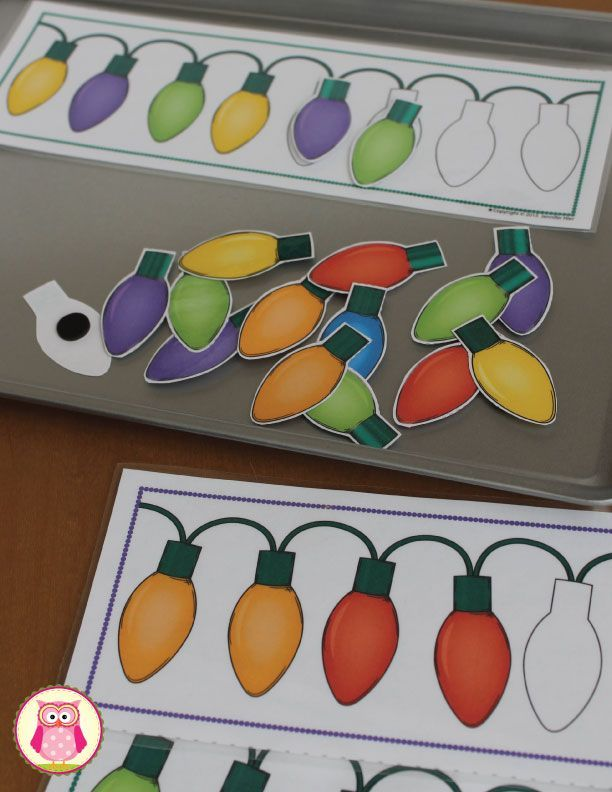 Holiday light patterns - Children can complete the patterns on this Christmas pattern activity.
