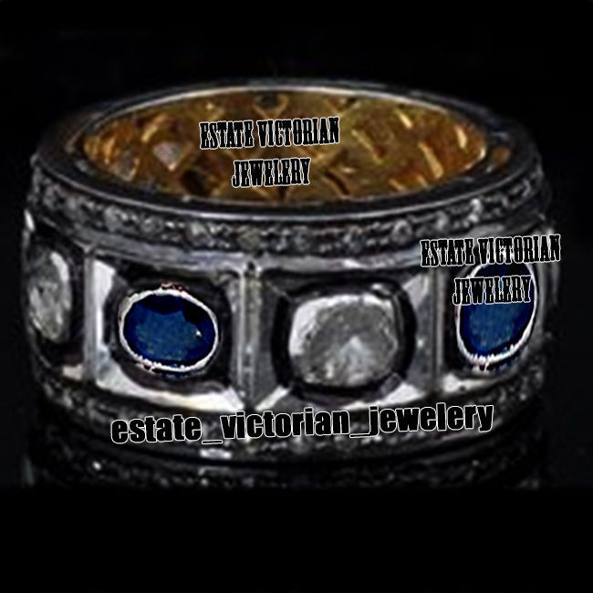 Victorian 2.92Cts Rose Antique Cut Diamond Silver Sapphire Eternity Ring Jewelry #estateVictorianJeweley #FiligreeFashionDiamondGemstoneEternityBand