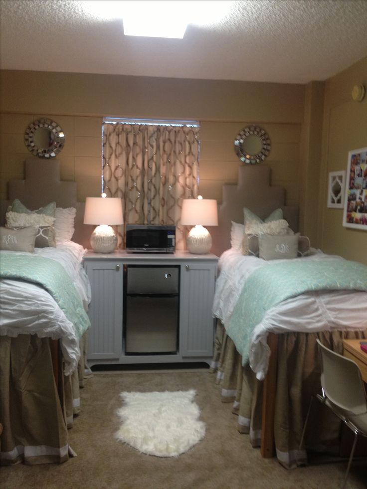 Martin Ole Miss- Neutral dorm scheme. Neat bedside cabinet with built in refrigerator