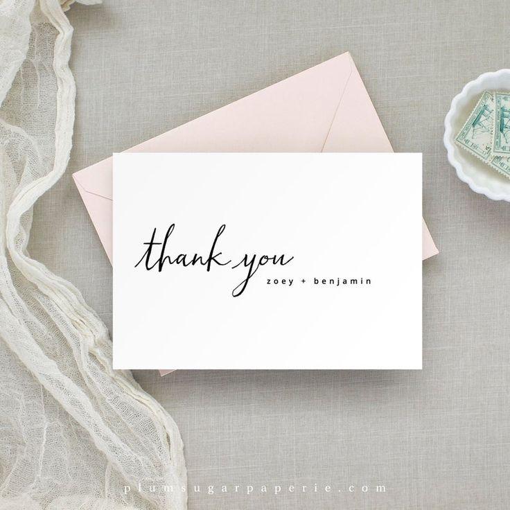 modern minimalist folded wedding thank you card printable