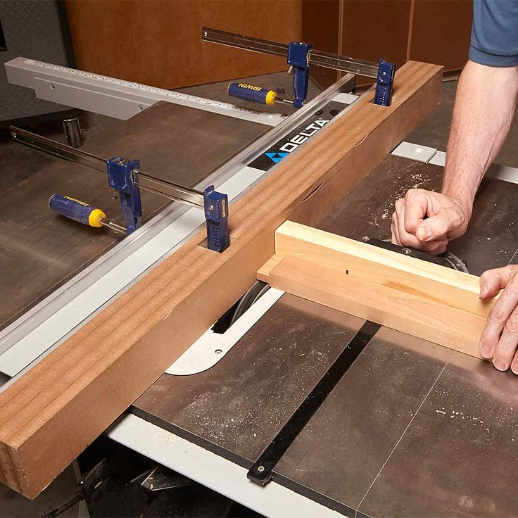 "When you have to adjust the table saw's fence so it sits right next to the blade, put a ""sacrificial"" fence on the saw. Using a sacrificial fence helps you avoid accidentally cutting into the real fence, which would be really bad news.  This sacrificial fence is made of four thicknesses of 1/2-in. MDF glued together. (Threequarter- inch plywood would work just as well.) Cut the middle pieces into thirds in order to create holes for clamping. The holes ensure that the clamp's heads won't get…"