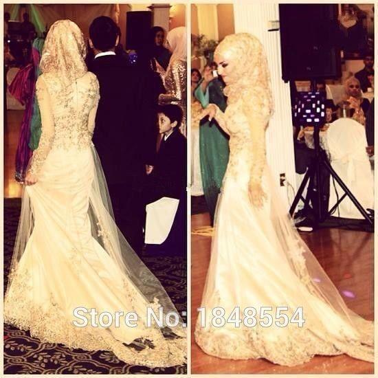 MZY525 yellow sweep train beaded deligate islamic hijab muslim lace long sleeve tulle satin wedding dress vestido de novia
