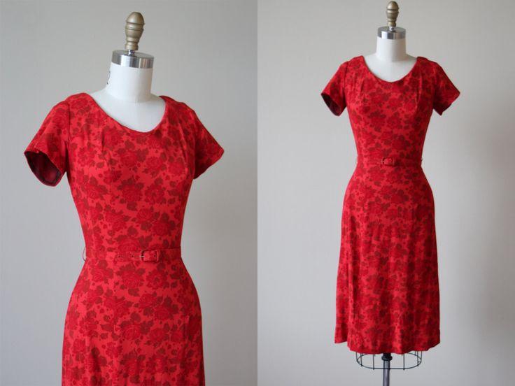 1950s Dress - Vintage 50s Dress - Red Rose Print Princess Seam Knit Wiggle Cocktail Party Dress S - Dangerous Curves Dress by jumblelaya on Etsy