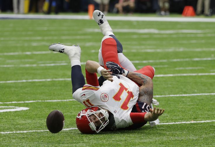 Kansas City Chiefs quarterback Alex Smith (11) fumbles the ball as he is sacked by Houston Texans outside linebacker John Simon (51) during the first half of an NFL football game Sunday, Sept. 18, 2016, in Houston. Houston recovered the ball. (AP Photo/David J. Phillip) via @AOL_Lifestyle Read more: http://www.aol.com/article/sports/2016/09/23/the-best-photos-from-the-week-in-sports-9-16-9-23/21478120/?a_dgi=aolshare_pinterest#fullscreen