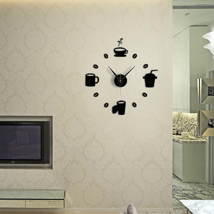 DIY Modern Home Decoration Large Coffee Cup Decal Kitchen Wall Clocks Silent Watch Decals Home Quartz Circular Needle Modern