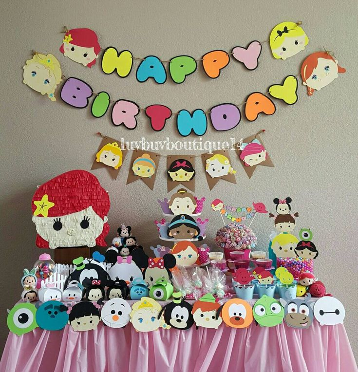 Tsum Tsum Inspired Birthday Banner- Tsum Tsums - Party Banner by LuvBugBoutique14 on Etsy