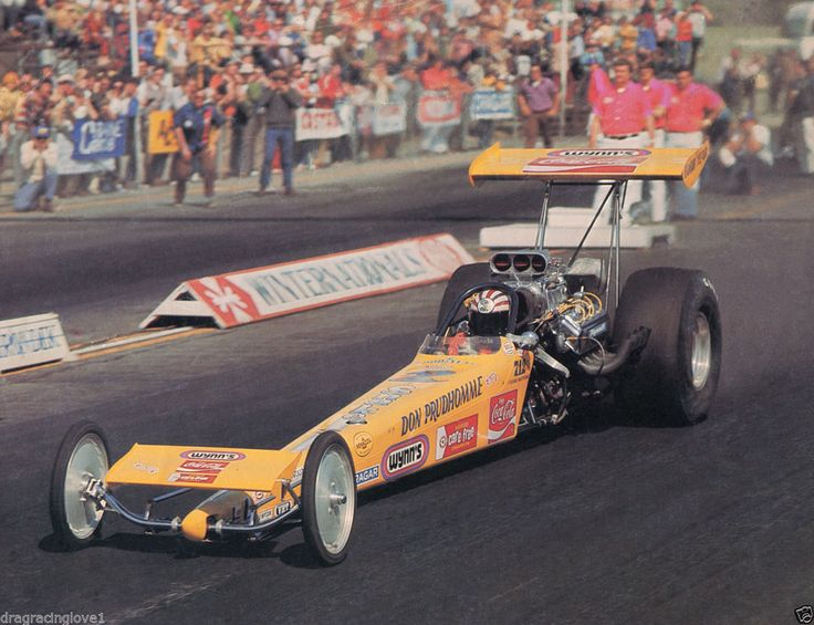 "Don ""Snake"" Prudhomme's Carefree sponsored ""Yellow Feather"" T/F Dragster...1973 Pomona Fairgrounds."