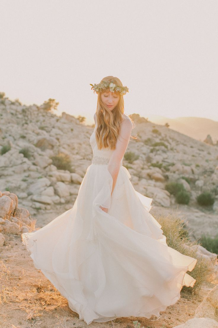 Boho Bride in Flower Crown // Joshua Tree Bride in Watters Wedding Gown from Lovely Bride http://fondlyforever.com/
