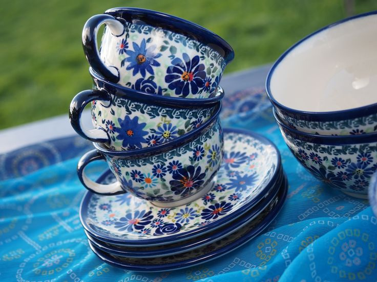 Blue Jasmine's polish pottery Cups and Saucer and bowls in the Summer Garden Range