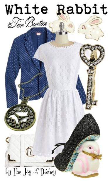 Outfit inspired by the White Rabbit from the Tim Burton version of Alice in Wonderland!