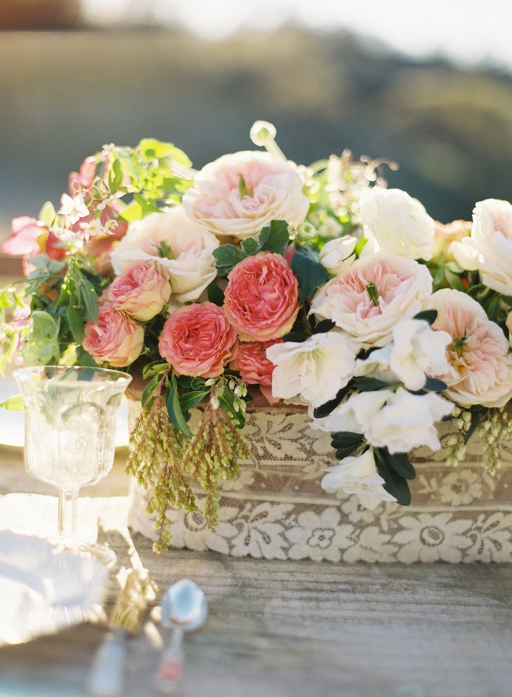 lace around the pot reception wedding flowers,  wedding decor, wedding flower centerpiece, wedding flower arrangement, www.myfloweraffair.com