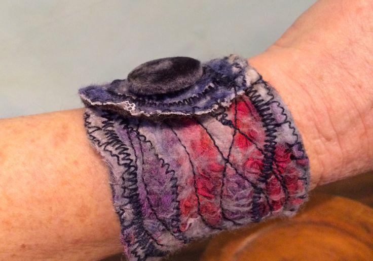 Nuno Felt Bracelet, Nuno Felt Cuff, Felted Clothing, Textile Jewelry, Felted Jewelry, Cloth Bracelet by RainasTextileHouse on Etsy