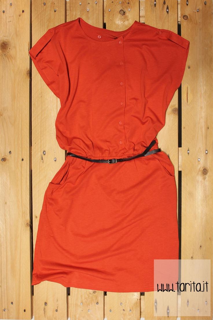 Tarita S/S 2013. Sessùn, deep orange viscose dress with belt.