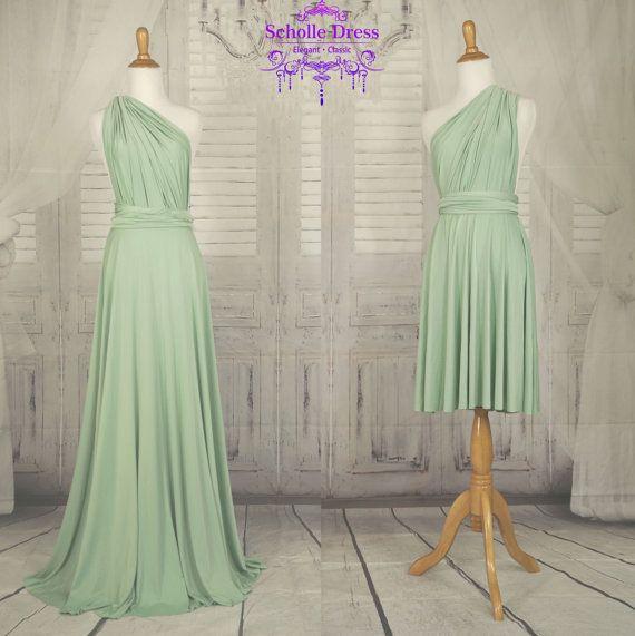Dama verde salvia infinito Convertible de vestido Formal del