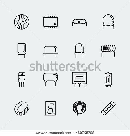 Electronic components vector icon set in thin line style