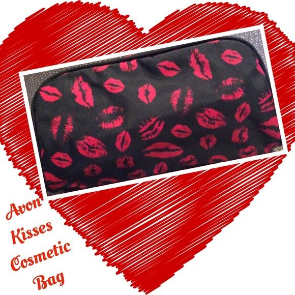 """Avon Kisses Cosmetic Bag Cute, kissing-lips print design. Easily fits your beauty basics, but compact size makes it purse-perfect and great for daily travel. 8"""" L x 2 1/4"""" W x 3 3/4"""" D. Polyester Avon Jewelry"""