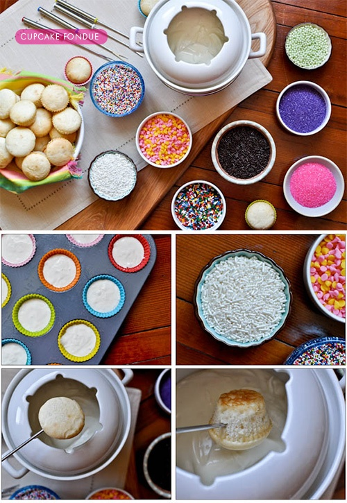 Cupcake Fondue ! Such a fun idea for all ages. Recipe for the frosting fondue can be found here: http://www.pintsizesocial.com/diy-with-vips/amanda-krueger-from-bake-it-pretty-3/