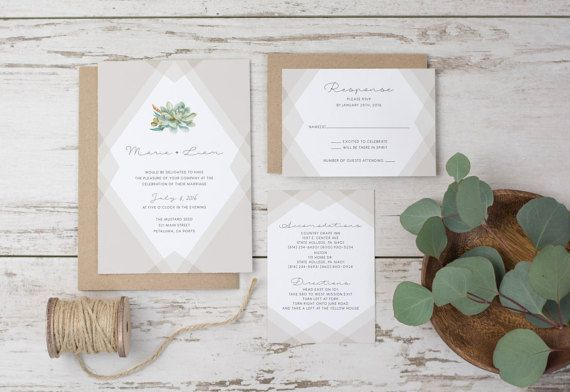 Wedding Invitation Template Succulent Printable by WestandPine