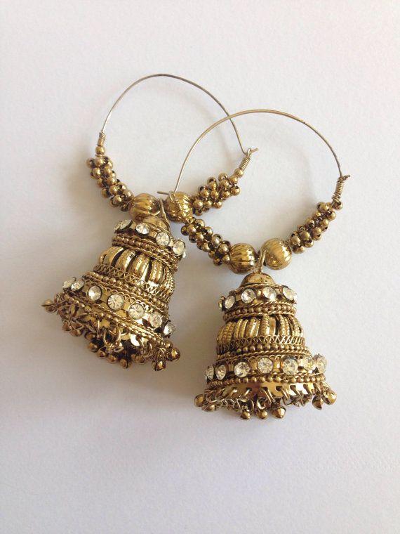 Jhumka Hoop Earrings by SokoraJewellery on Etsy