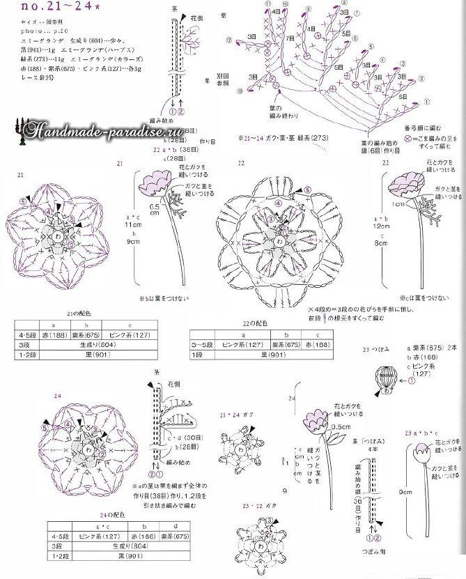 Миниатюрные букетики цветов крючком. Схемы (6)