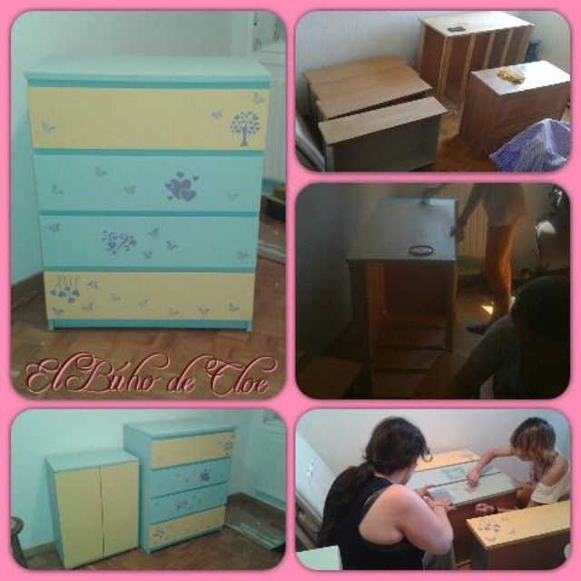 Aveces tengo la suerte de restaurar muebles en equipo!! Y que mejor equipo q mis amigas?? Aún falta terminar el mueble pequeño y poner el nombre de Iraia en el primer cajón!! Os iré enseñando pequeños rinconcintos y detalles de su habitación...próximamente... #handmade #restauración #diy #artesania #muebles #muebleinfantil #fleurchalkpaint #fleurpaint #estarcido #stencil #chalky #capetownblue #loveinpotofino #lavenderblue #heart #butterfly #corazones #mariposas #elbuhodecloe