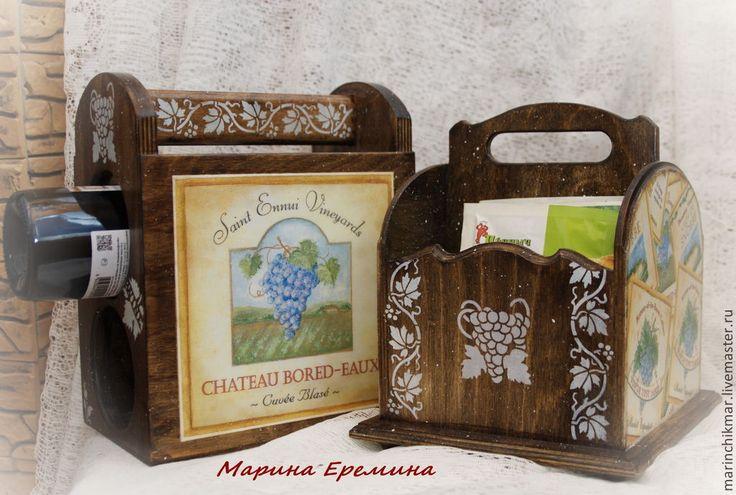 НАбор для кухни. Винный короб и короб для специй Продано - оливковый,короб для вина