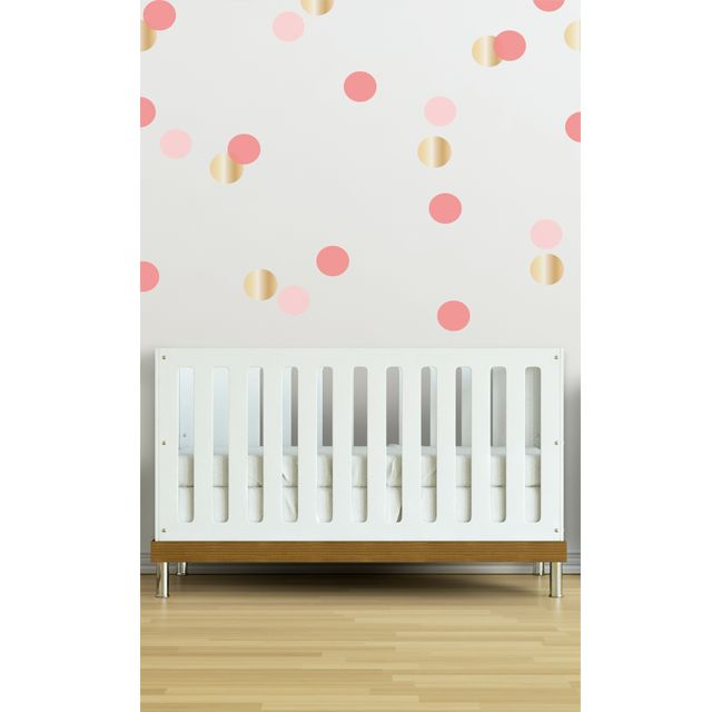 Coral, Pink and Gold Wall Dot Decals - we love wall decals as a way to tackle those blank nursery walls without the commitment of wallpaper or paint. #PNshop