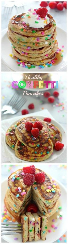 Healthy Greek Yogurt Confetti Pancakes - light, fluffy, and made with whole wheat flour!