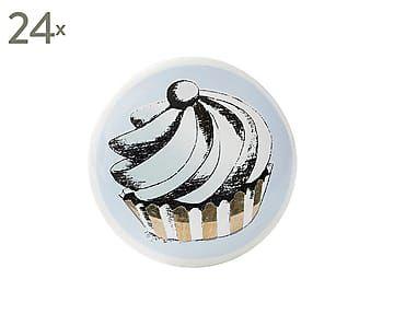 Set de 24 pomos de puerta de cristal y metal Cupcake II - Ø3,5 cm