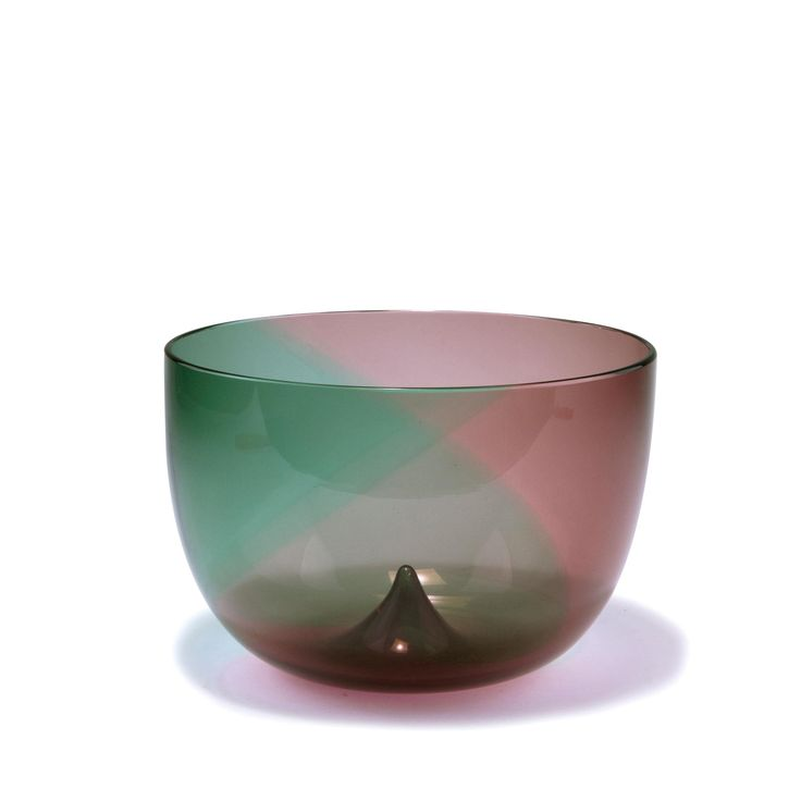 Tapio Wirkkala. 'Coriano' bowl, 1966. H. 13.3 cm. Made by Venini & C. Clear cased glass, fused spirals, moss green and pink between layers. Marked: venini italia tw (engraved).