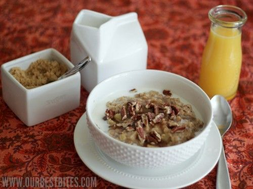 Overnight Cinnamon Apple Oatmeal with chopped pecans from Our Best Bites: Babycenterblog