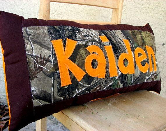 Hey, I found this really awesome Etsy listing at http://www.etsy.com/listing/89875139/personalized-name-pillow-tree-hunting