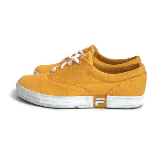 fila non slip shoes womens. fila yellow canvas lace up style tennis shoes/ sneakers. features up, rubber non slip soles. brand: size: women\u0027s 9 condition: very good vintage fila shoes womens