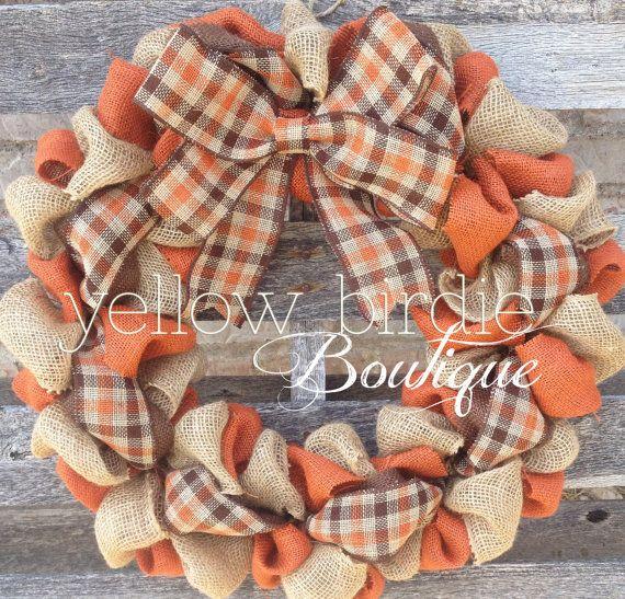 Fall Burlap Wreath, Burlap Wreath, Yellow Birdie Boutique
