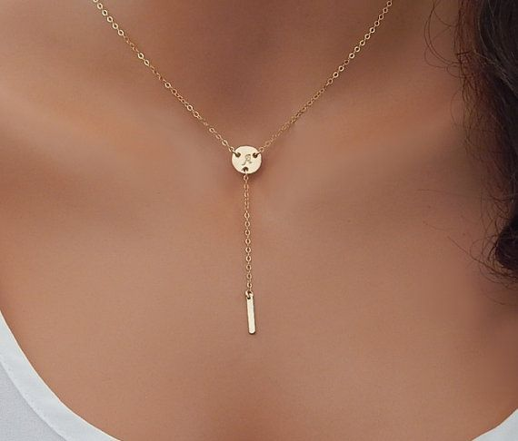 Initial Lariat Necklace, Personalized Initial Charm, Kris Jenner Necklace, Girlfriend Gift, Minimal Gold Bar Pendant [CUC3] [519]