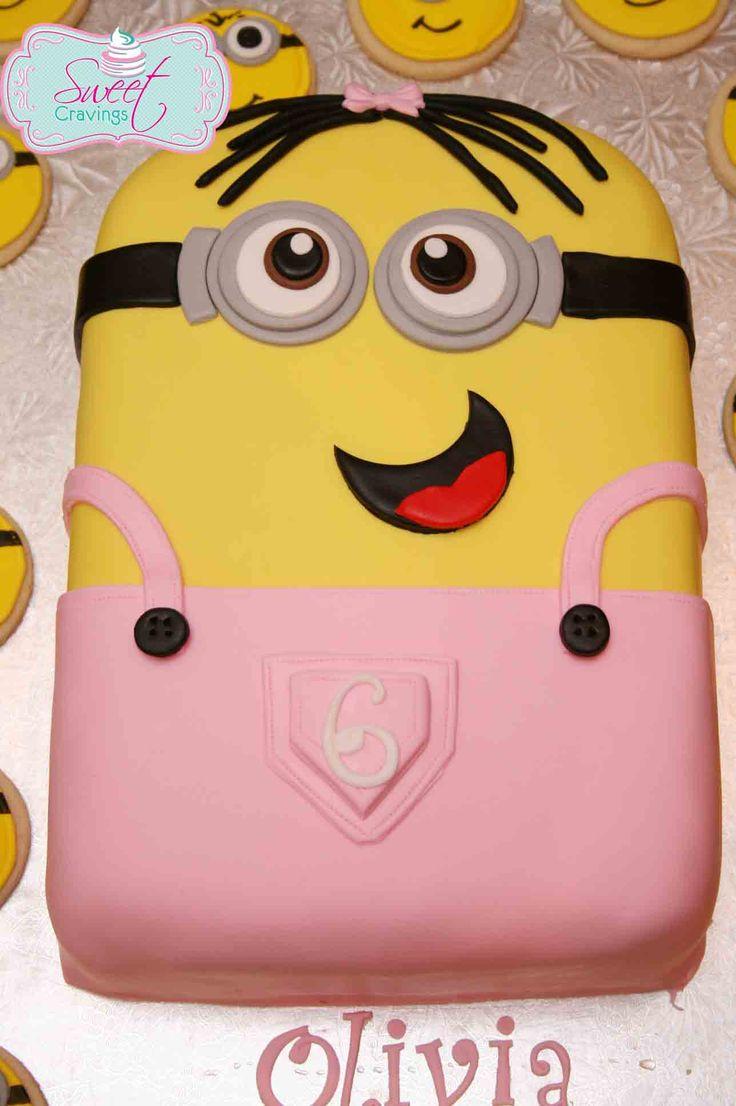 Pink girl minion cake