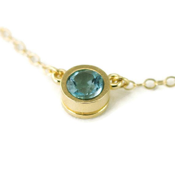 14k Gold Solitaire Necklace   5mm Gemstone 14k Gold by PPennee