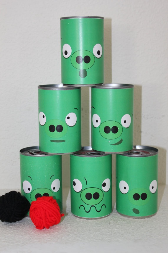 easier to make paper faces to wrap around empty cans then to paint the cans
