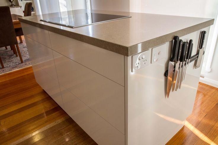 Island bench. Magnetic knife storage. www.thekitchendesigncentre.com.au