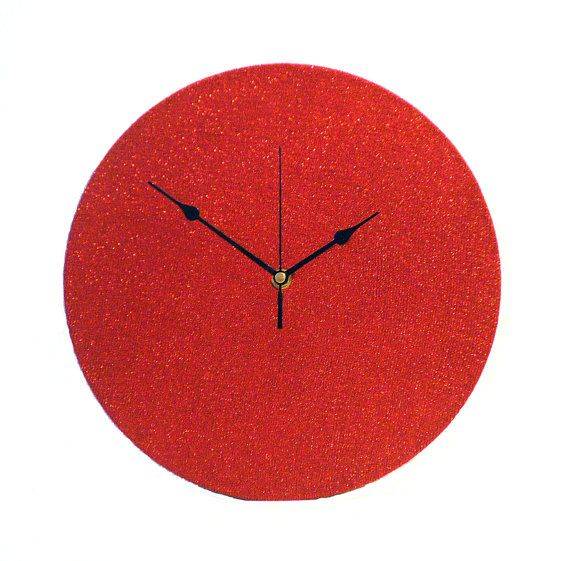 Red Wall Clock  Decoupage Fabric Wall Clock  by NaturalClocks