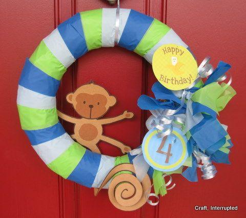 Monkey Birthday Party Wreath for Front Door