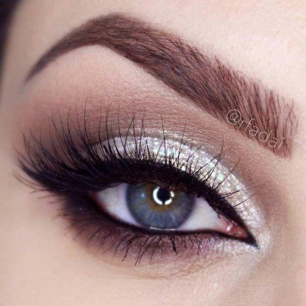 Silver Glitter Wedding Makeup Look for Blue Eyes. The Best Wedding Makeup Ideas