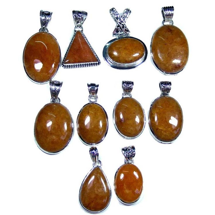 Silver Jewelry Pendants Lot With Crystal Amber Gemstones  Price $USD   285  Weight 250 gms