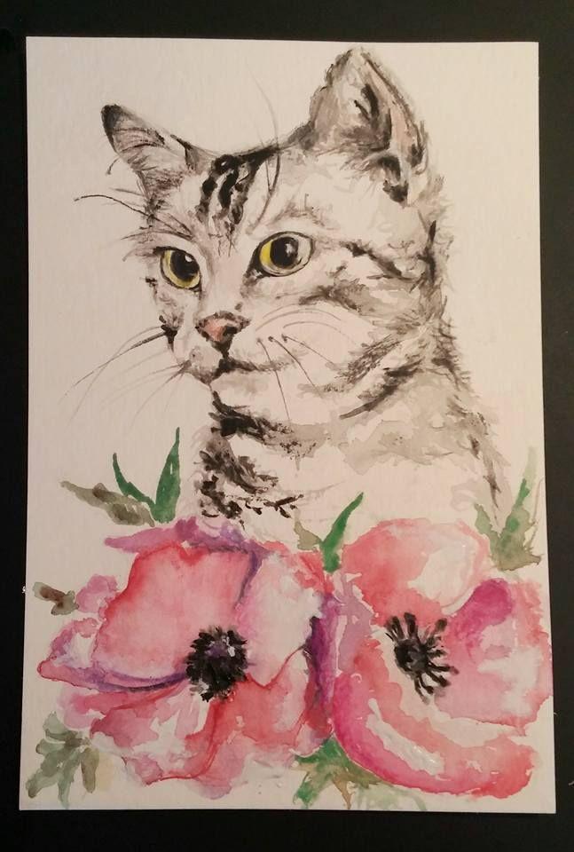 spring primavera gatto cartolina cat postcard