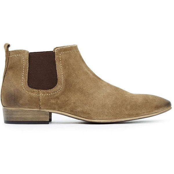 TOPMAN Brown Suede Chelsea Boots (23 KWD) ❤ liked on Polyvore featuring men's fashion, men's shoes, men's boots, brown, mens brown suede shoes, mens suede chelsea boots, mens brown suede chelsea boots, mens suede boots and mens cuban heel boots